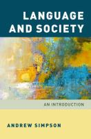 Language and society : an introduction / Andrew Simpson.