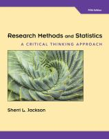 Research methods and statistics : a critical thinking approach / Sherri L. Jackson.